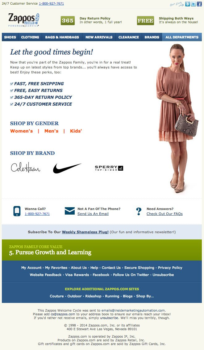 Zappos Product and Service Information