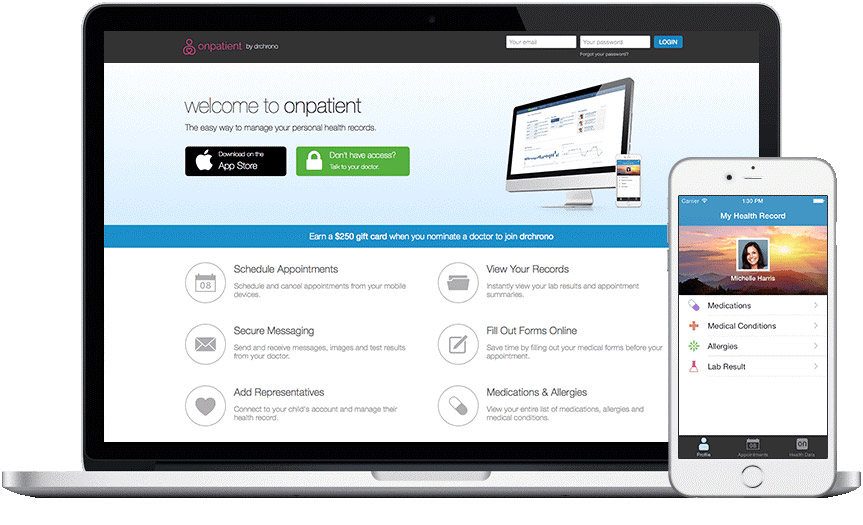 drchrono's web-based and mobile app screens