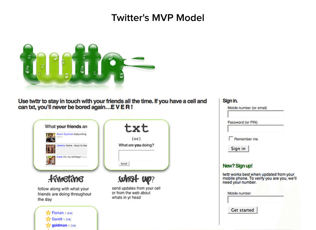 twttr is the real life example of an MVP launched by Twitter