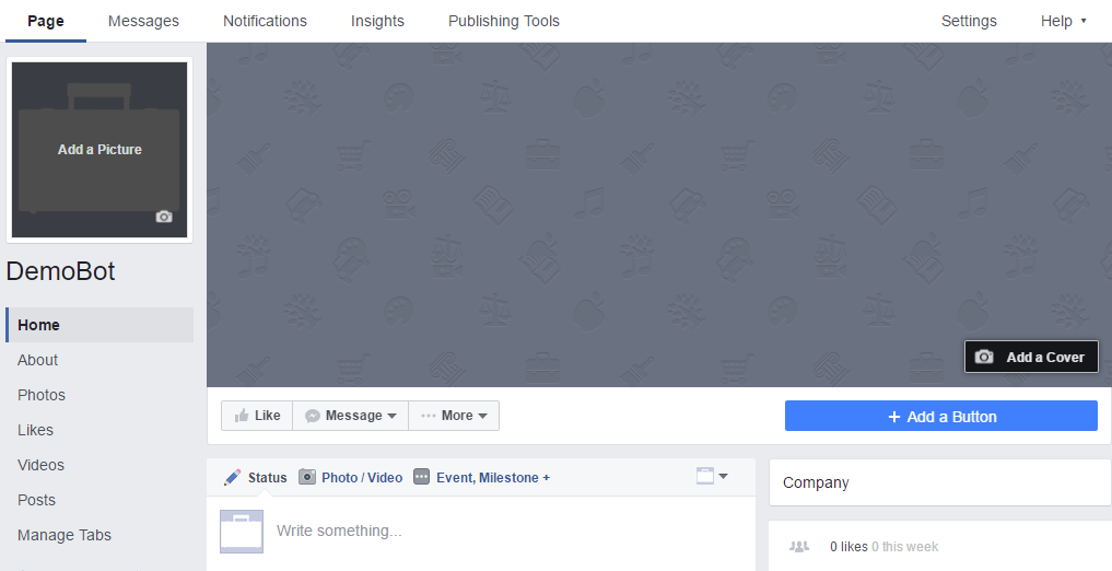 Create a new 'Facebook Page'