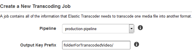 Create a new transcoding job