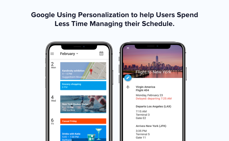 Google serving personalized user experience using Google Calendar