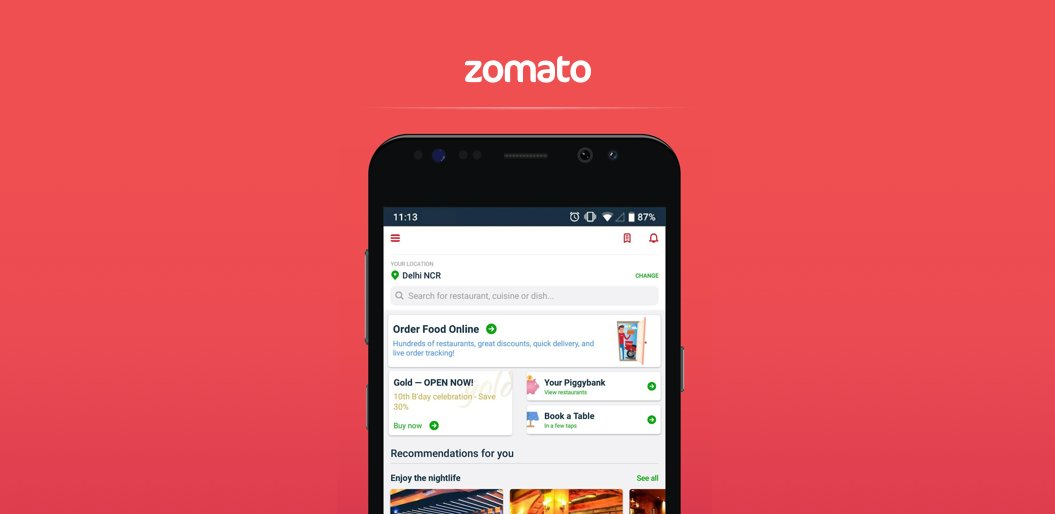 Zomato online food delivery app