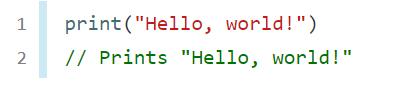 Hello world code in Swift programming language