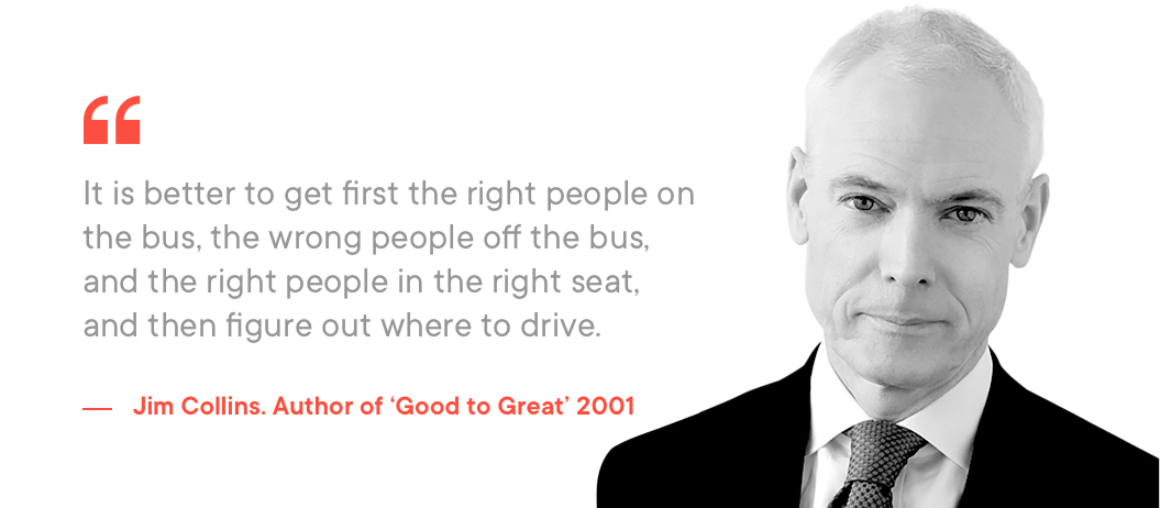 Jim Collins quote on importance of hiring a good UX design agency