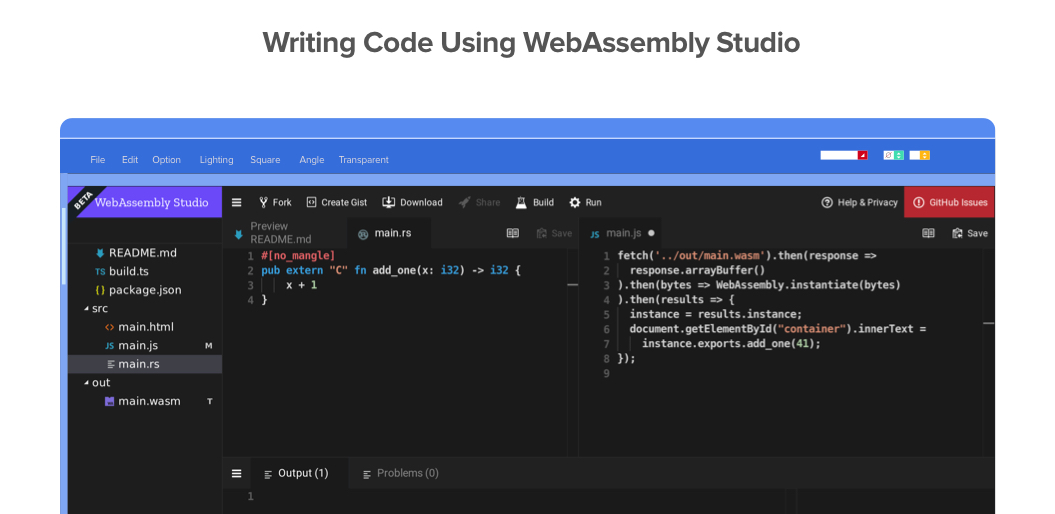 Code in WebAssembly Studio