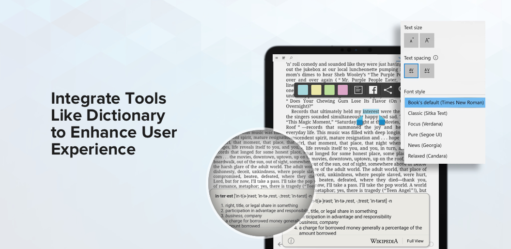 Reading Tools in ebook reading app