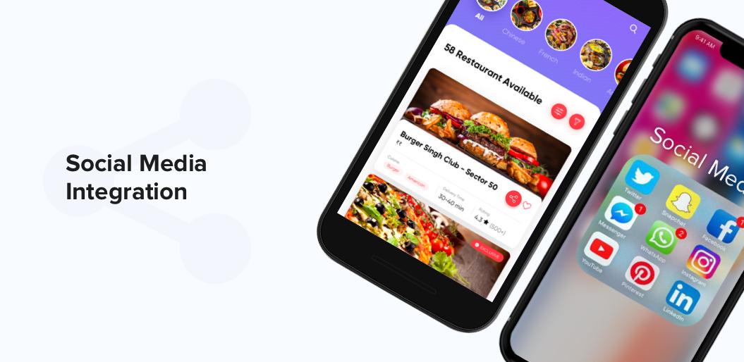 Social Media Integration in on demand food ordering app