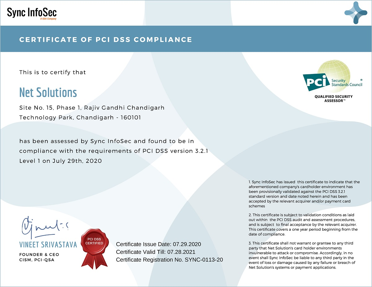 Net Solutions Certificate of PCI DSS Compliance