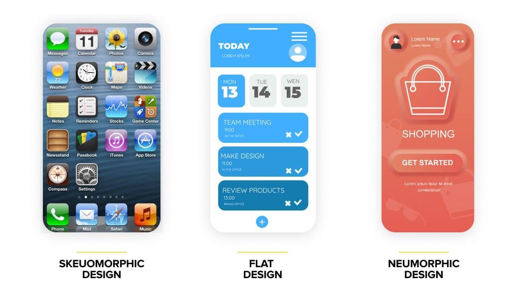 Skeuomorphic design vs flat design vs neumorphic design - example
