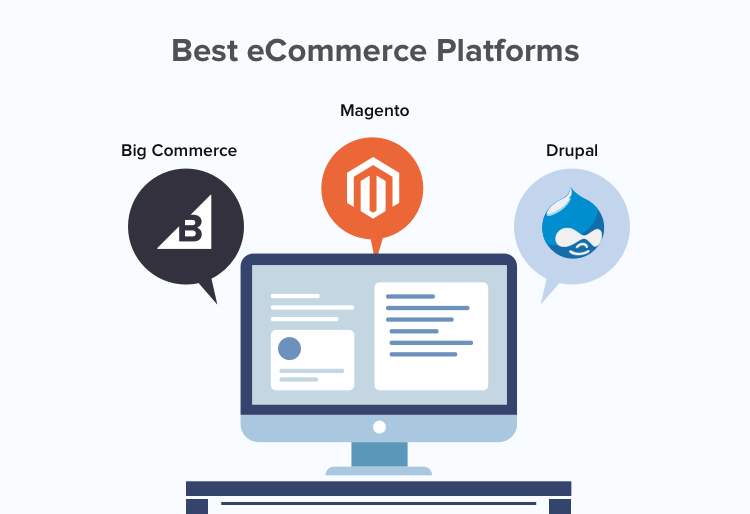 Drupal, Magento, and BigCommerce are popular eCommerce platforms