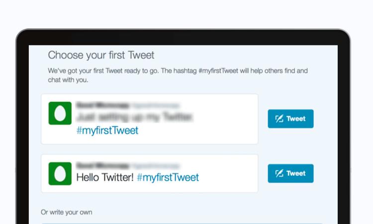 Twitter microcopy before first tweet