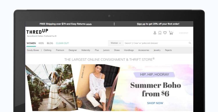 B2C homepage example