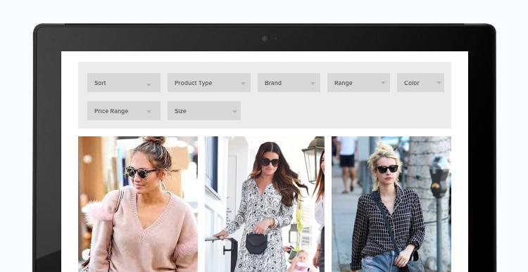 prefer horizontal filters for ecommerce website