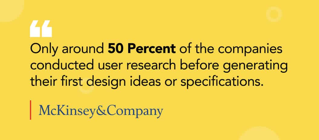 McKinsey&Company stat on importance of research-ux design agency