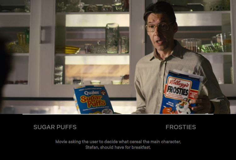 Movie asking the user to decide what cereal the main character, Stefan, should have for breakfast.