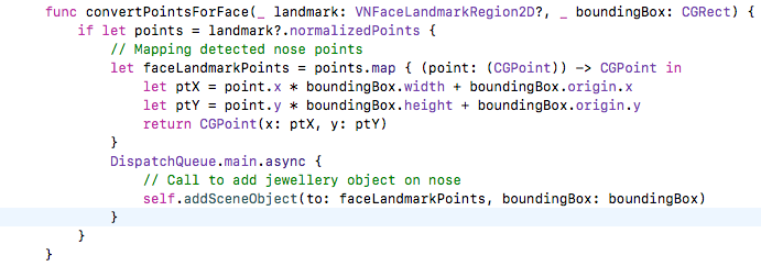 code for ensuring that the nose ring moves in accordance with the face movement