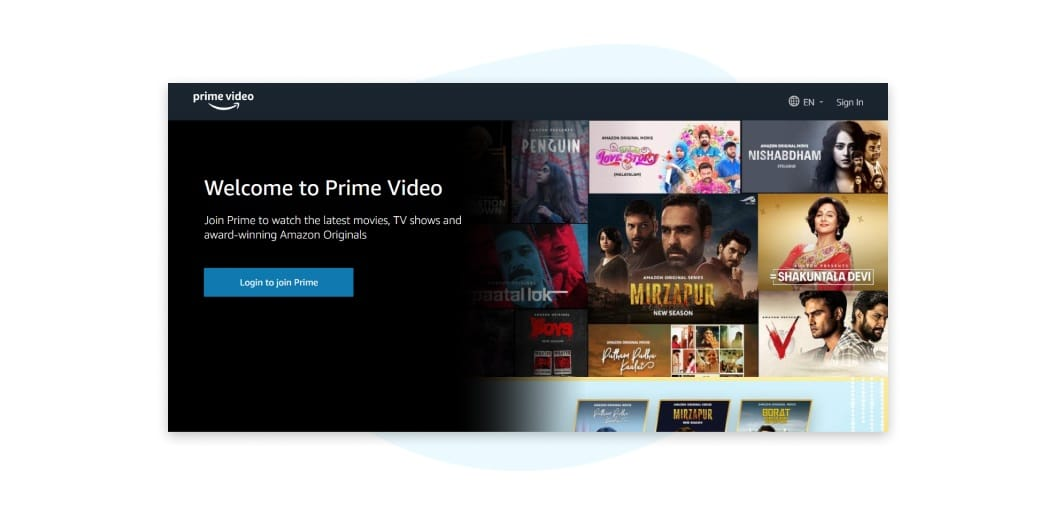 Prime Video Index Page