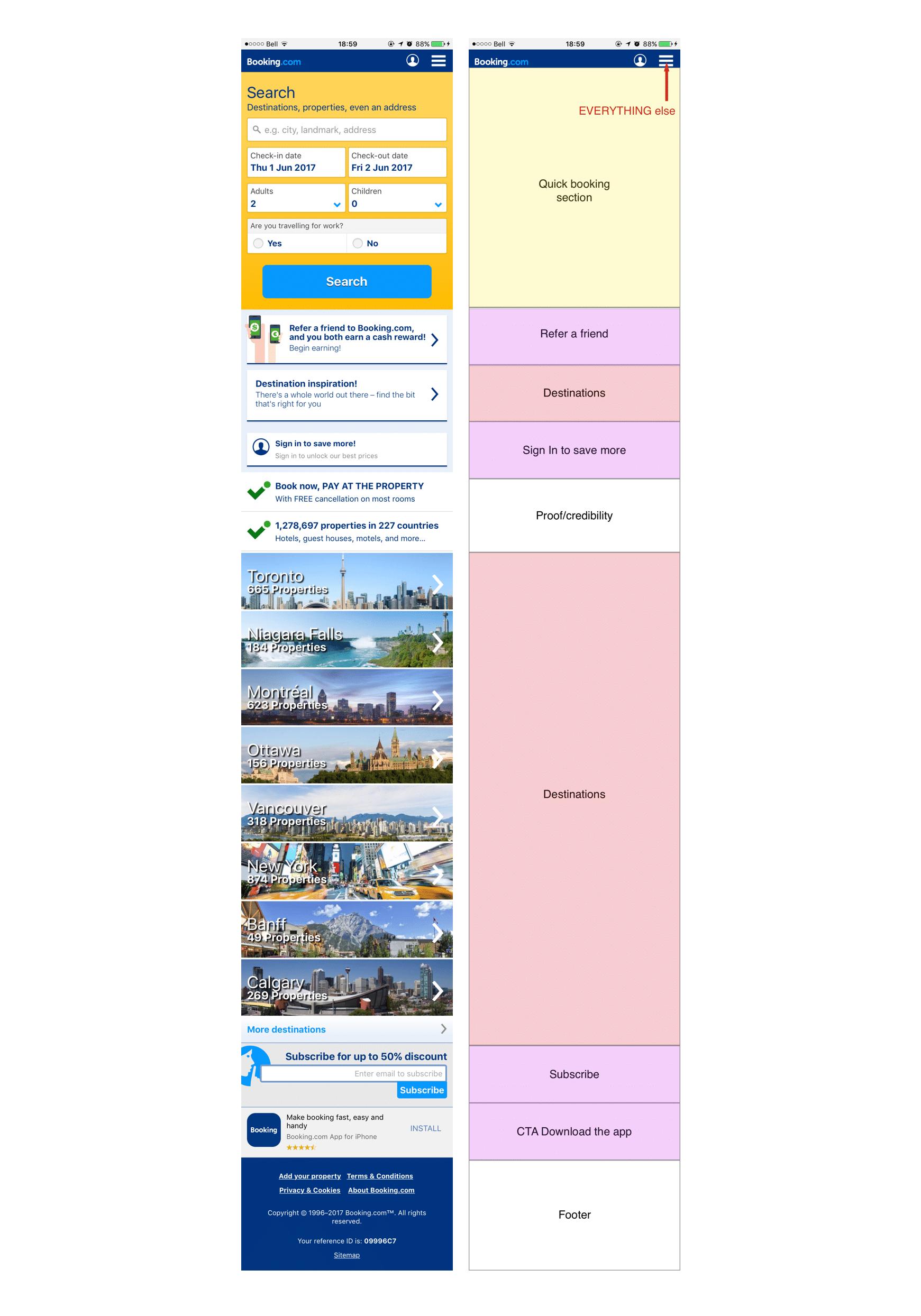 booking.com mobile ux design