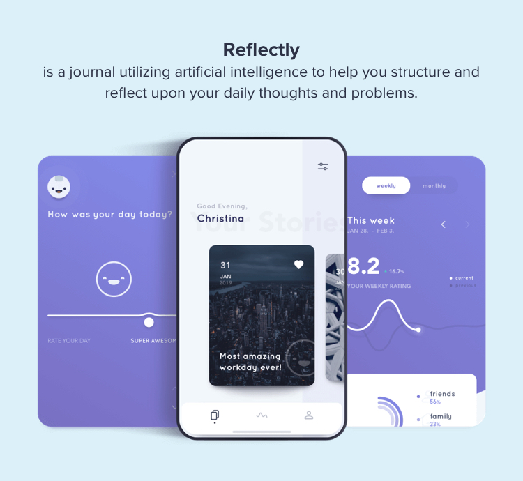 Refelectly mobile app | UX design trends