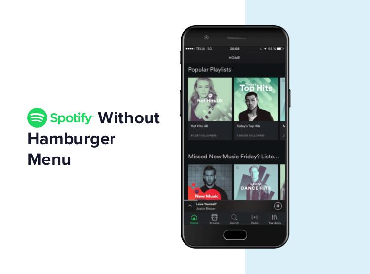 Spotify - Without hamburger menu | UX design trends