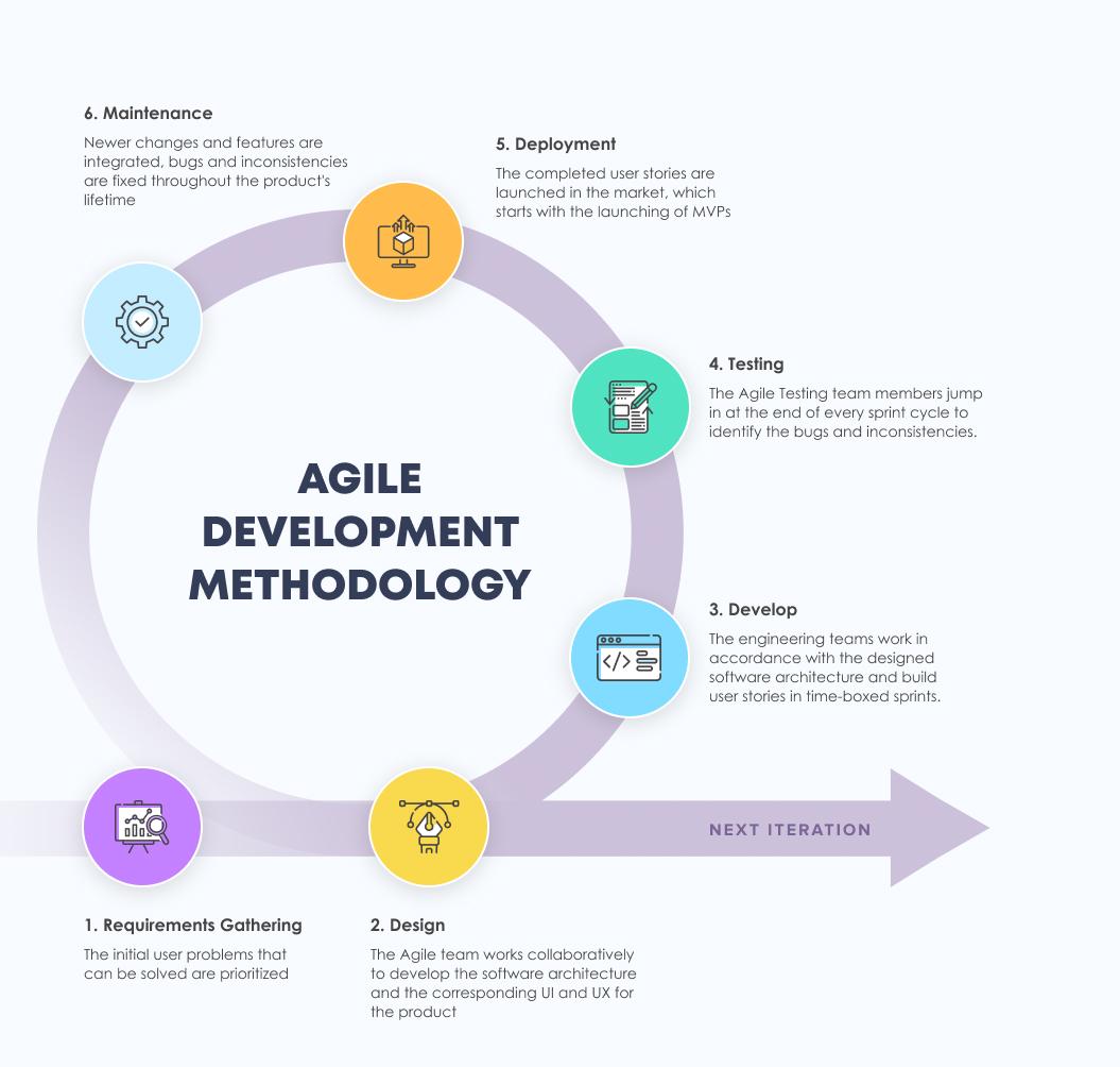 Agile software development methodology infographic