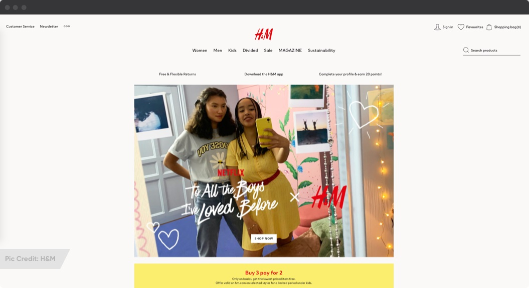 H&M eCommerce site with minimalist design | 2021 eCommerce Trends