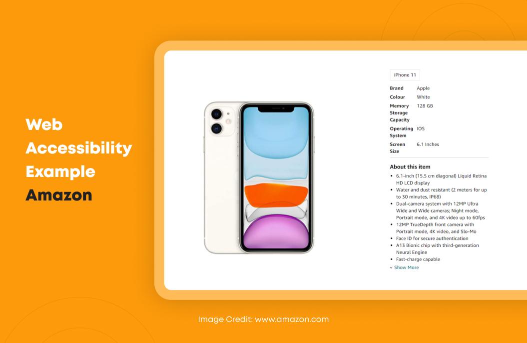 Web Accessibility Example Amazon