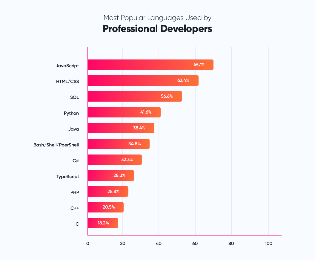 Most popular languages used by Professional Developers | How to Hire a CTO