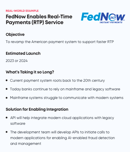 FedNow example for IT modernization and API integration