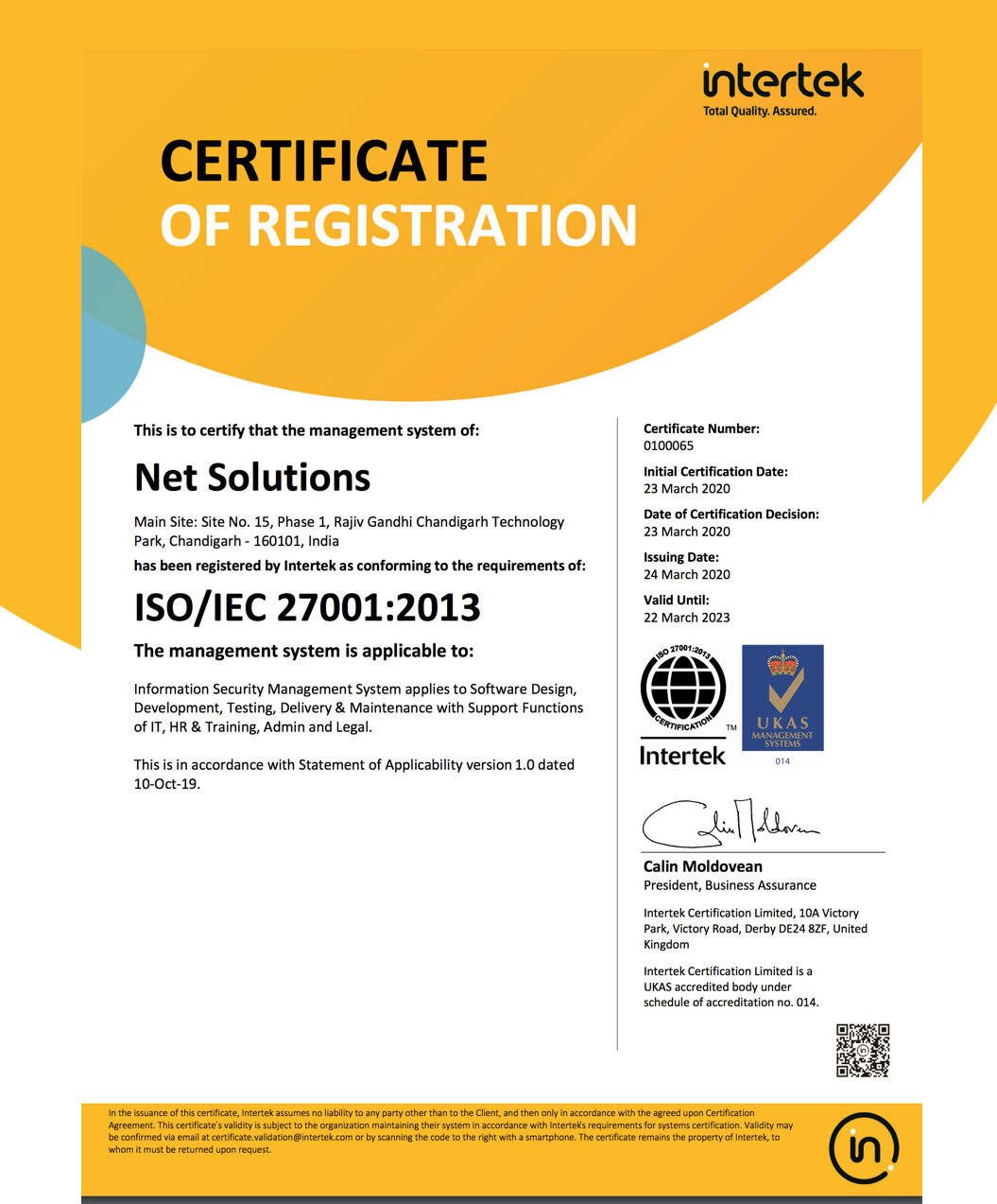 Net Solutions Achieves ISO/IEC 27001:2013 Certifications