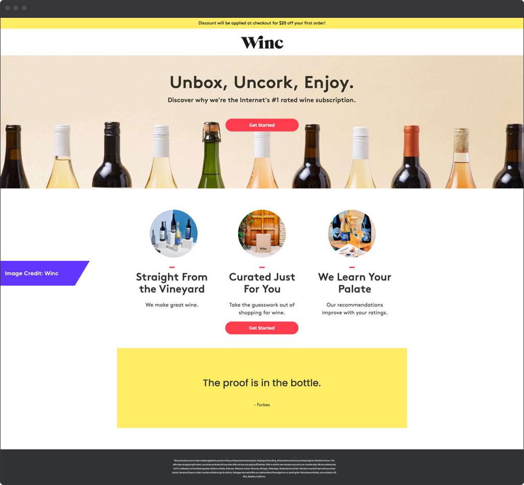 Winc Example | Amazing eCommerce Landing Pages